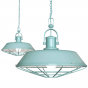 Brewer Cage Industrial  Pendant Light Duck Egg Blue Turquoise - Soho Lighting