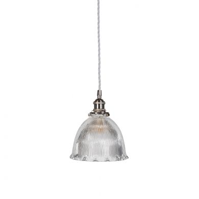 D'Arblay Nickel Scalloped Prismatic Glass Dome Pendant Light - The French Collection