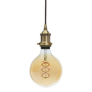 Soho Lighting Antique Brass Decorative Bulb Holder with Black Round Cable