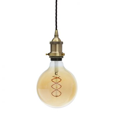 Soho Lighting Antique Brass Decorative Bulb Holder with Black Twisted Cable