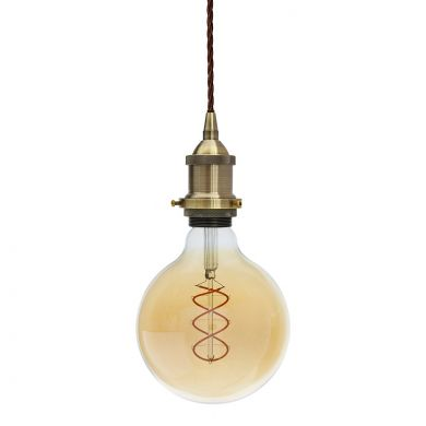Soho Lighting Antique Brass Decorative Bulb Holder with Brown Twisted Cable