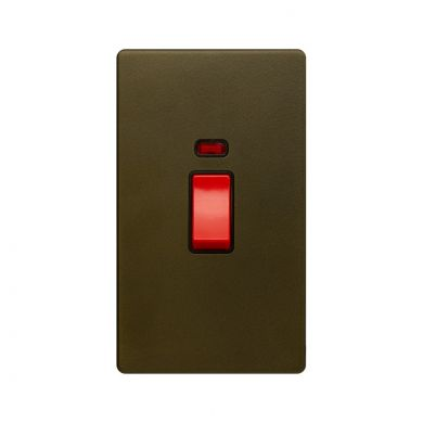 The Eton Collection Bronze 45A 1 Gang Double Pole Switch & Neon (Lrg Plate) Screwless