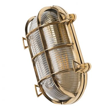 Flaxman Outdoor Polished Brass IP66 Rated Bulkhead Wall Light - The Outdoor & Bathroom Collection
