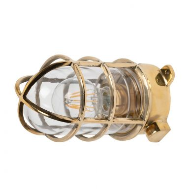 Kemp Polished Brass Grid IP66 Ceiling Light - The Outdoor & Bathroom Collection