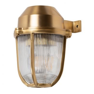 Hopkin Lacquered Brass IP66 Prismatic Glass Light - The Outdoor & Bathroom Collection