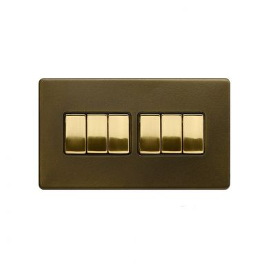 Soho Fusion Bronze & Brushed Brass 10A 6 Gang 2 Way Switch Black Inserts Screwless