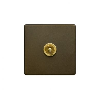 Soho Fusion Bronze & Brushed Brass 20A 1 Gang 2 Way Toggle Switch Screwless