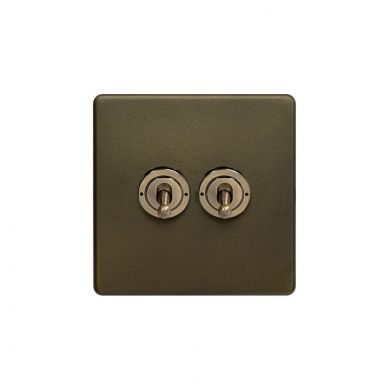 The Eton Collection Bronze 20A 2 Gang 2 Way Toggle Switch Screwless