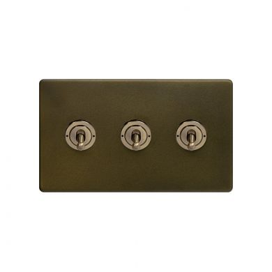 The Eton Collection Bronze 20A 3 Gang 2 Way Toggle Switch Screwless