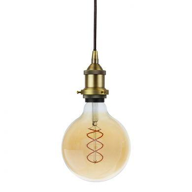 Soho Lighting Matt Antique Brass Decorative Bulb Holder with Black Round Cable