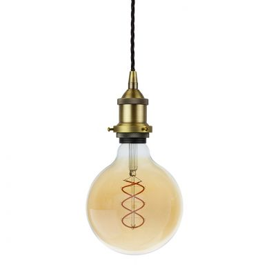 Soho Lighting Matt Antique Brass Decorative Bulb Holder with Black Twisted Cable