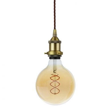 Soho Lighting Matt Antique Brass Decorative Bulb Holder with Brown Twisted Cable