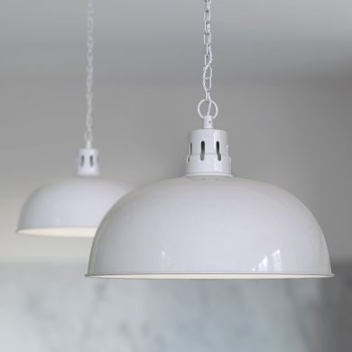 Berwick Rustic Dome Pendant Light Pale Grey