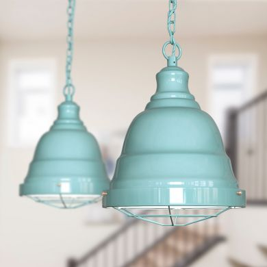 Ganton Vintage Cage Pendant Light Duck Egg Blue