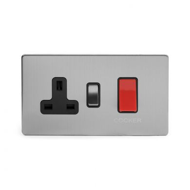 Brushed Chrome 40A Cooker control With Black insert
