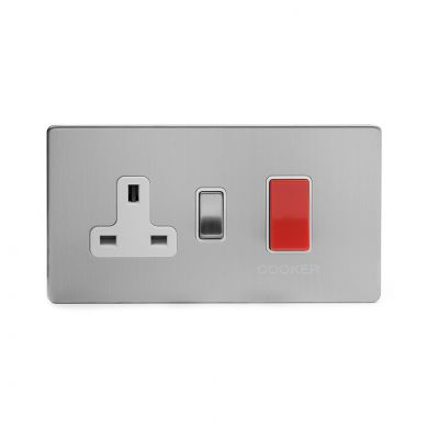 Brushed Chrome 40A Cooker control With White insert