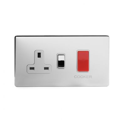 Polished Chrome 40A Cooker control With White insert