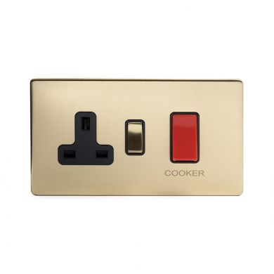 24k Brushed Brass 40A Cooker control With Black insert