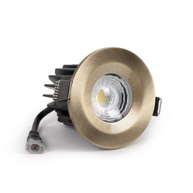 Antique Brass Fire Rated Fixed LED Downlights Dimmable