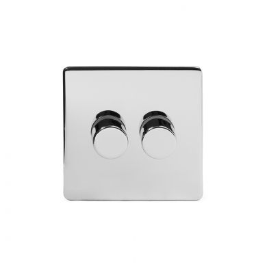 Polished Chrome 2 Gang 2 Way Trailing Dimmer Switch with Black Insert