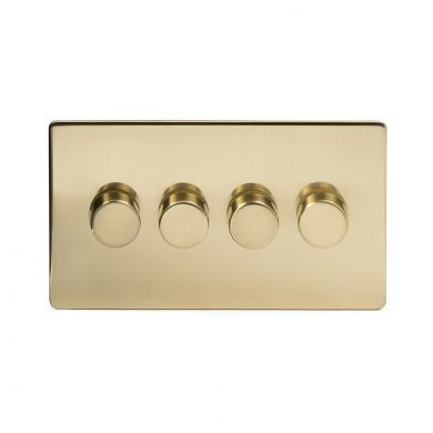 24k Brushed Brass 4 Gang 2 Way Trailing Dimmer Switch with Black Insert