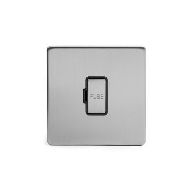 Brushed chrome metal plate 13A Unswitched Fuse Connection Unit with Black insert