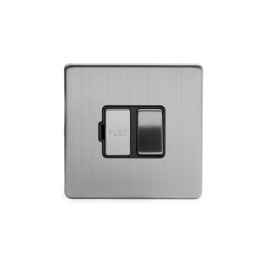 Brushed chrome metal plate 13A Switched Fuse Connection Unit with Black insert