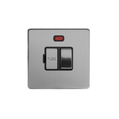 Brushed chrome metal plate 13A Switched Fuse Connection Unit With Neon with Black insert