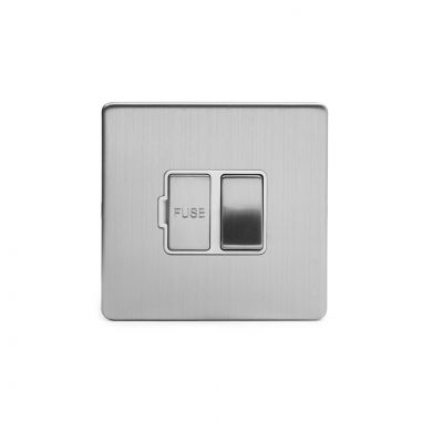 Brushed chrome metal plate 13A Switched Fuse Connection Unit with White insert