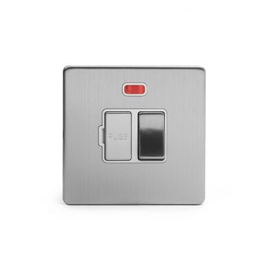 Brushed chrome metal plate 13A Switched Fuse Connection Unit With Neon with White insert