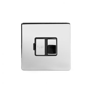 Polished chrome metal plate 13A Switched Fuse Connection Unit with Black insert
