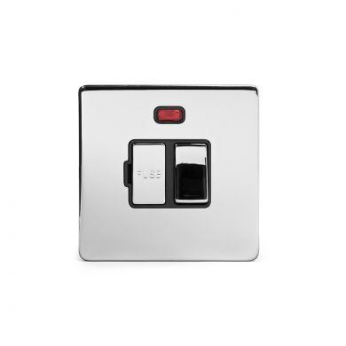 Polished chrome metal plate 13A Switched Fuse Connection Unit With Neon with Black insert