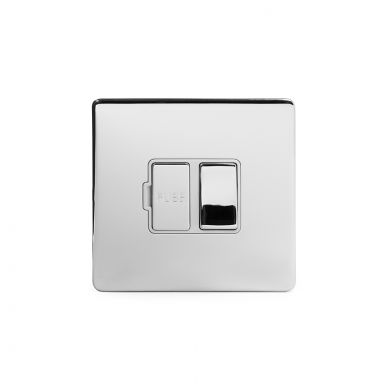 Polished chrome metal plate 13A Switched Fuse Connection Unit with White insert
