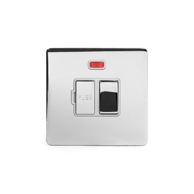 Polished chrome metal plate 13A Switched Fuse Connection Unit With Neon with White insert