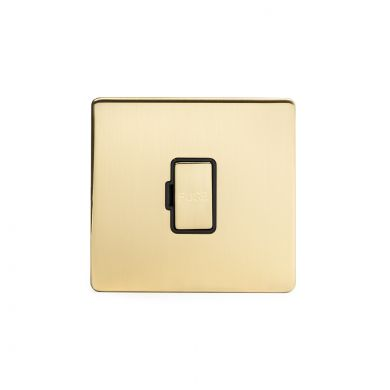24k Brushed Brass metal plate 13A Unswitched Fuse Connection Unit with black insert