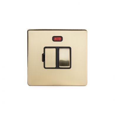 24k Brushed Brass metal plate 13A Switched Fuse Connection Unit With Neon with black insert