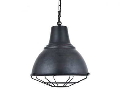 Compton Black Coffee Caged Bell Pendant Light