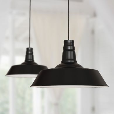 Large Argyll Industrial Pendant Light Matt Black