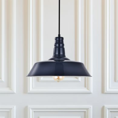 Argyll Industrial Pendant Light Squid Ink Blue