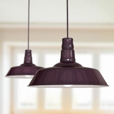 Argyll Industrial Pendant Light Mulberry Red