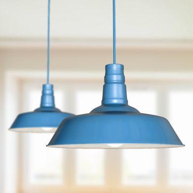 Argyll Industrial Pendant Light Aston Blue