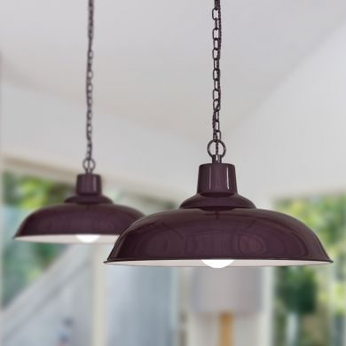 Portland Reclaimed Style Industrial Pendant Light Mulberry Red
