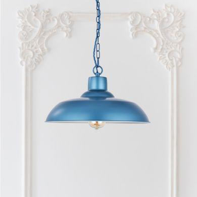 Portland Reclaimed Style Industrial Pendant Light Aston Blue