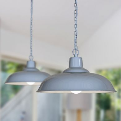 Portland Reclaimed Style Industrial Pendant Light French Grey