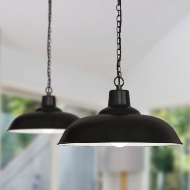 Portland Reclaimed Style Industrial Pendant Light Matt Black