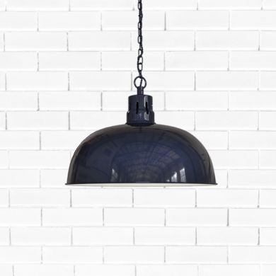 Berwick Rustic Dome Pendant Light Squid Ink Blue