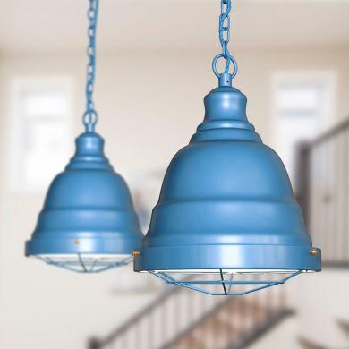 Ganton Vintage Cage Pendant Light Aston Blue