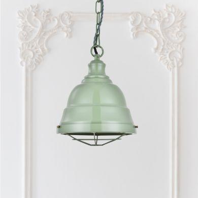 Ganton Vintage Cage Pendant Light Chalk Green