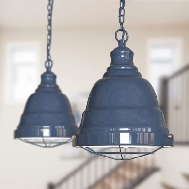Ganton Vintage Cage Pendant Light Leaden Grey