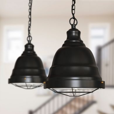 Ganton Vintage Cage Pendant Light Matt Black